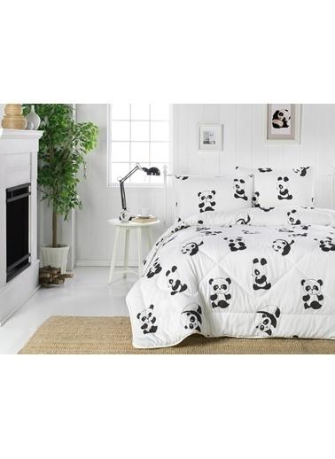 Eponj Home Life Yorgan Çift Kişilik Panda B&W  Beyaz
